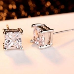Other - 9mm Diamond CZ Stud Earrings, Unisex